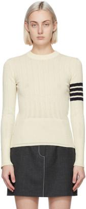 Thom Browne White Fine Mesh Rib 4-Bar Sweater