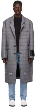 Off-White Off White Grey Check Wool Volume Coat