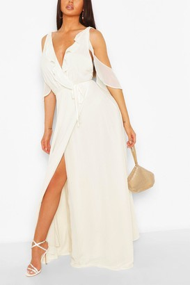 boohoo Boutique Chiffon Frill Wrap Maxi Dress