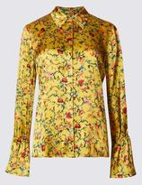 Marks and Spencer Floral Print Long Sleeve Satin Blouse