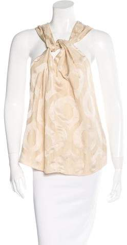Isabel Marant Knot-Front Brocade Top w/ Tags