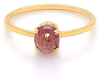 Tresor Collection Pink Tourmaline Round Ring In 18K Yellow Gold