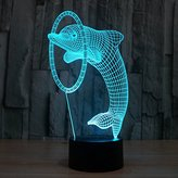 eNice Dolphin 3D Optical Illusion 7 Colors changing Desk Table Light night light lamp