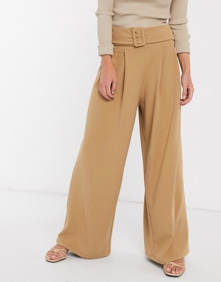 ASOS DESIGN structured pleat wide leg trouser with belt in twill