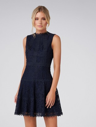 Forever New Harriet A-Line Lace Trim Dress - Navy - 6