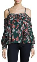 Tanya Taylor Floral Ikat Gauze Daisy Silk Cold Shoulder Top