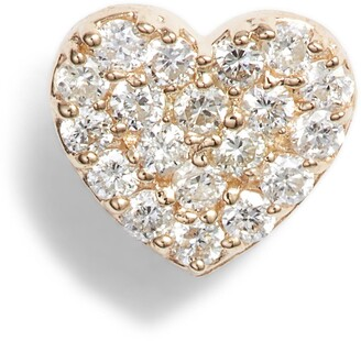 Anzie Pave Diamond Single Heart Stud Earring