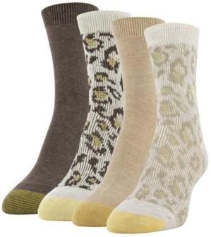 Gold Toe Women's Leopard Jacquard Midi 4pk Crew Socks