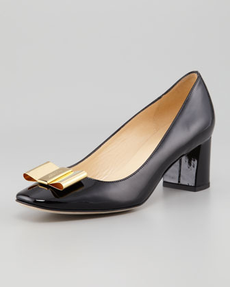 Kate Spade Dijon Metal-Bow Pump, Black