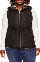 KC Collections Faux Fur Reversible Quilted Vest - Plus