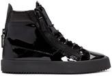 Giuseppe Zanotti Black Patent Leather London High-Top Sneakers