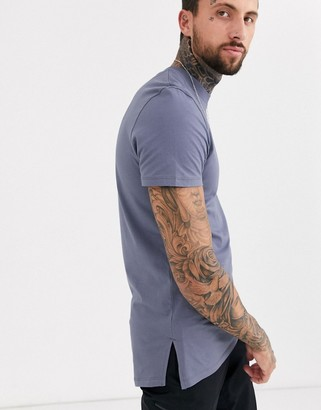 ASOS DESIGN longline t-shirt with crew neck and side splits in grey