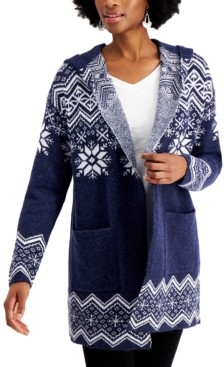 Style&Co. Style & Co Hooded Fair Isle Cardigan, Created for Macy's