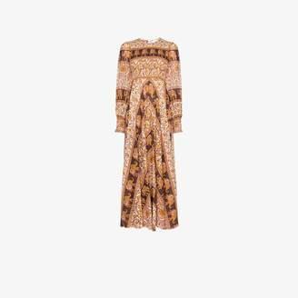Zimmermann Suraya Elephant Print Smocked Maxi Dress