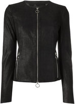Drome zip up jacket - women - Leather/Polyester/Viscose - M
