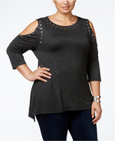 Belldini Plus Size Metallic-Stud-Trimmed Cold-Shoulder Top