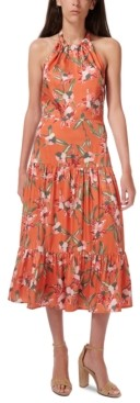 Sam Edelman Halter Floral-Print Tiered Midi Dress