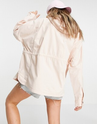 Brave Soul Lost twill lightweight hooded jacket in blush