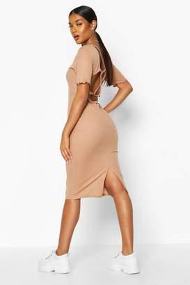 boohoo Rib Strappy Back Ring Detail Midi Dress