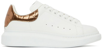 Alexander McQueen White and Rose Gold Croc Oversized Sneakers