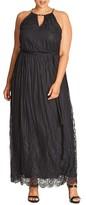 City Chic Plus Size Women's Studio 54 Stripe Lace Maxi Dress