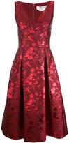 Carolina Herrera leaf jacquard deep V-neck dress
