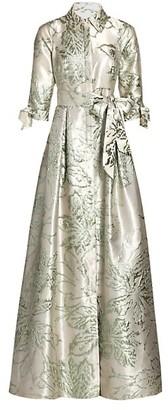 Teri Jon by Rickie Freeman Three-Quarter Sleeve Abstract Jacquard Shirt Waist Gown