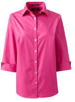 Lands' End Women's Plus Size 3/4 Sleeve Broadcloth Shirt-Rich Red