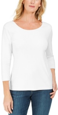 Karen Scott Plus Size 3/4-Sleeve Cotton Scoop-Neck Top, Created for Macy's