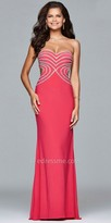 Faviana Heart shaped Rhinestone Bodice Prom Dress