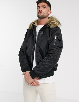 Schott N2B28 insulated parka bomber jacket slim fit detachable faux fur trim hood in black