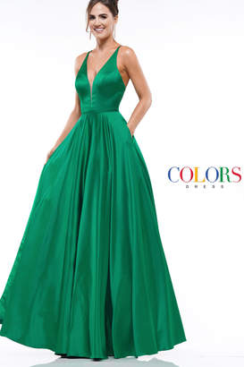 Colors Satin Emerald Gown