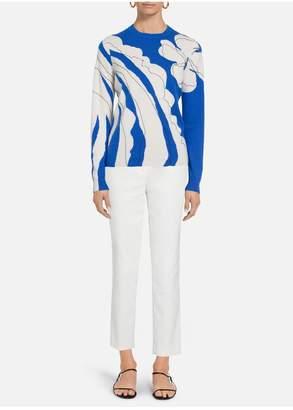 St. John Artisanal Floral Intarsia Cashmere Sweater