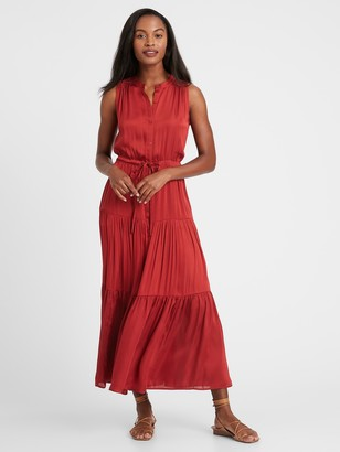 Banana Republic Satin Tiered Maxi Shirt Dress