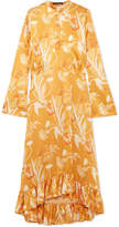 Mother of Pearl Oleta Ruffled Floral-print Silk-satin Maxi Dress - Yellow