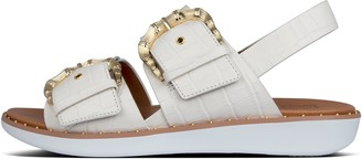 FitFlop Kaia Croc-Print Leather Back-Strap Sandals