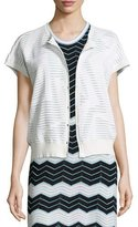 M Missoni Short-Sleeve Bubble-Hem Zigzag Cardigan, Ivory