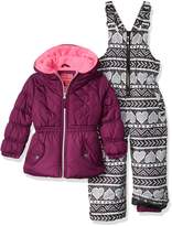 Pink Platinum Little Girls' Quilted Jacket Heart Print Snowsuit