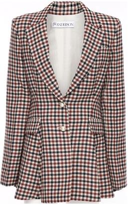 J.W.Anderson Wool Plaid Peplum Tuxedo Jacket