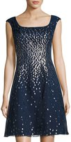 Kay Unger New York Embellished Organza Fit-and-Flare Dress, Navy