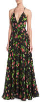 Milly Monroe Strappy Floral-Print Chiffon Gown