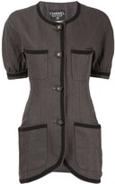 Chanel Pre Owned linen slim-fit buttoned blouse