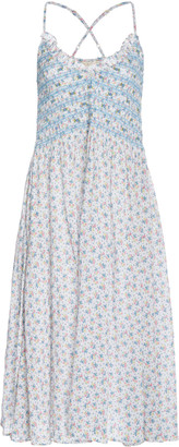 LoveShackFancy Canyon Embroidered Floral-Print Cotton-Voile Midi Dress