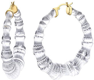 clear Gold & Honey Bamboo Hoop Earrings,
