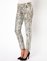 Vivienne Westwood Anglomania For Lee Skinny Jeans In Silver Flock
