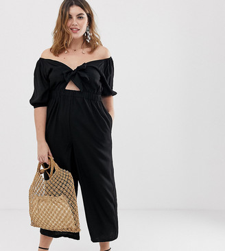 Asos DESIGN Curve tea jumpsuit with puff sleeve and tie detail