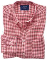 Classic Fit Non-iron Oxford Gingham Red Cotton Shirt Single Cuff Size Large By Charles Tyrwhitt