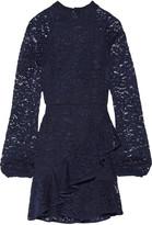Rebecca Vallance Open-back ruffled corded lace mini dress