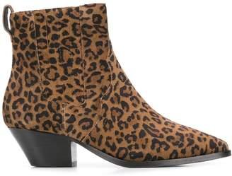 Ash leopard print ankle boots