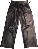 Joseph Navy Leather Trousers